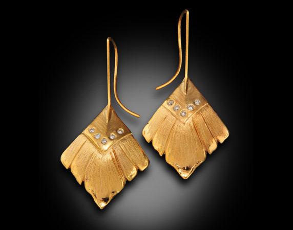 Earrings-Banana Leaf-and-Diamonds